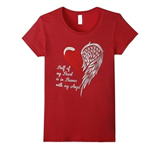 Women's Half Of My Heart Is In Heaven With My Angel T Shirt Large Cranberry