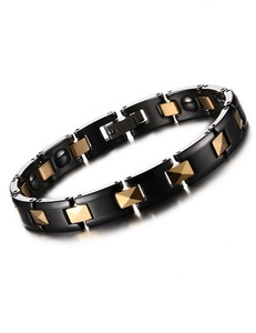 Men's Black Gold Titanium Magnetic Therapy Pain Health Bracelet for Relieve Fatigue