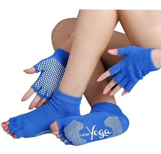 Women's Yoga Socks Toeless and Gloves Set, Non Slip Grip with Silicone Dots (type-6)