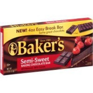Baker's Semi-Sweet Chocolate Baking Bar, 4 OZ (Pack of 12) by Kraft Baker's Baking Chocolate