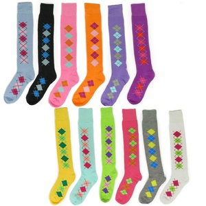 Women's Fun Funky Colorful Cotton Long Sporty Comfortable Knee High Socks (6 pack assorted, A- Argyles)