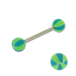 Acrylic Barbell Tongue Ring with Green & Blue Ball