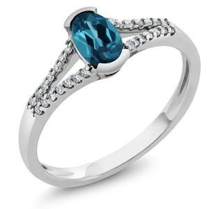 Women's Oval London Blue Topaz 10K White Gold Diamond Ring (Size 5,6,7,8,9)