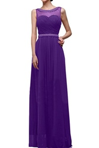 MILANO BRIDE Prom Party Dress Long Sleeveless A-line Chiffon Beads Affordable-17W-Purple