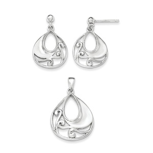 .925 Sterling Silver Polished & Textured Fancy Pendant & Earring Set