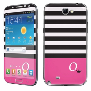 Samsung [Galaxy Note 2] Phone Skin - [SkinGuardz] Full Body Scratch Proof Vinyl Decal Sticker with [WallPaper] - [Black Pink Stripe O Monogram] for Samsung Galaxy [Note 2]