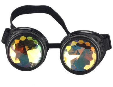 Lelinta Steampunk Rave Glasses Goggles with Rainbow Crystal Glass Lens