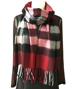 J-SUN-7 Womens Wool Scarf Lambswool Tassel Grid Stole Scarf(Oriental Red, 13*75(inch))