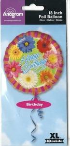 Happy Birthday 18 Foil Mylar Balloon Gerbera Daisies by Balloons