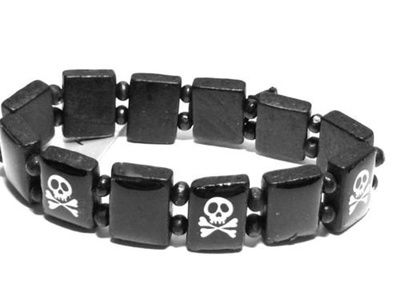 Skull and Crossbones wooden Bracelet Wristband for the boys Pirate fancy dress emo goth by Boys