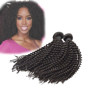 Dingli Hair Kinky Curly Unprocessed Brazilian Virgin Hair Bundles Curly Human Hair Weave 3 Bundles Natural Color (14 16 18 inches)