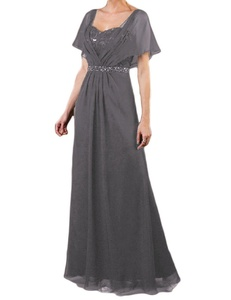 Favors Women's Mother of the Bride Dress Chiffon Formal Gown with Sleeve Grey 10