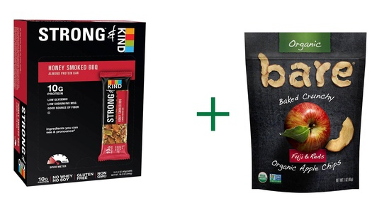 Kind Strong & Kind Almond Protein Bar Honey Smoked BBQ -- 12 Bars, ( 2 PACK ), Bare Organic Baked Crunchy Apple Chips Gluten Free Fuji & Reds -- 3 oz