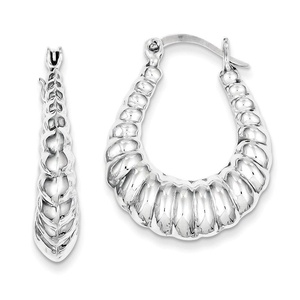 .925 Sterling Silver 31 MM Diamond-Cut Scalloped Hoop Earrings