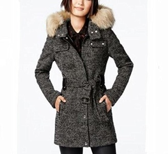 Laundry by Design Belted Zip Front Coat With Faux Fur-BWH-XL
