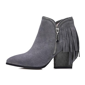 YONG Tassel boots side zipper thick high heel boots for fall/winter woman aristocratic temperament full leather boots size , gray , 39