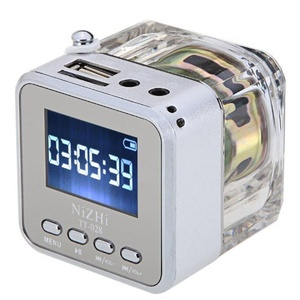 soled Mini Digital Portable Music TT-028 MP3 Player TF Card USB FM Radio(Silver)