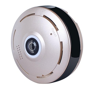A-GEAR Gold Color Mini Wireless IP Camera 360 Degree Panoramic View HD Full Angle WiFi Video Monitoring Surveillance Camera with Night Vision Two Way Audio Baby Monitor
