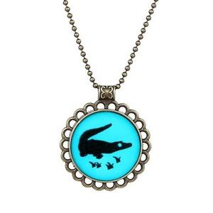 Gudeke Fashion Simple Womens Lace Noctilucent Round Crocodile Alligator Necklace Pendants 50cm Chain
