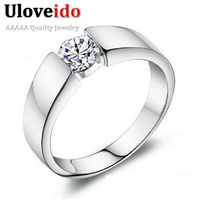 Dudee Jewelry CZ Wide Ring Set Men Jewelry Silver Wedding Ring Bague Homme Anel Masculino Feminino J002