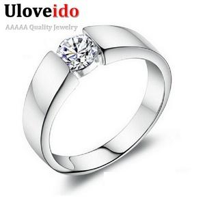 Slyq Jewelry unisex Ring Modern Jewelry Crystal Silver CZ Mens Trendy Wedding Ring for Men J002