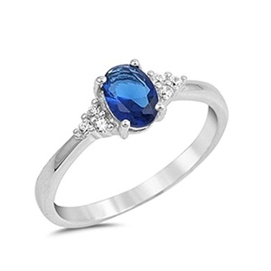 Wedding Engagement Anniversary Ring Oval Cut Simulated Sapphire Round CZ 925 Sterling Silver