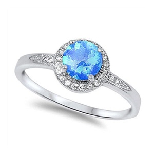 Solitaire Accent Halo Wedding Engagement Ring Round Lab Created Blue Opal Round CZ 925 Sterling Silver