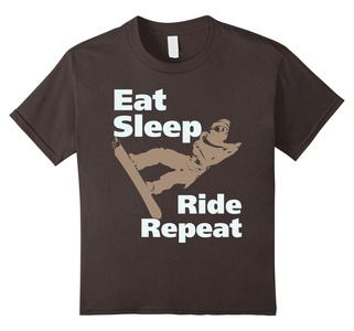 Kids Snowboard T-Shirt -Eat Sleep Ride Repeat 10 Asphalt
