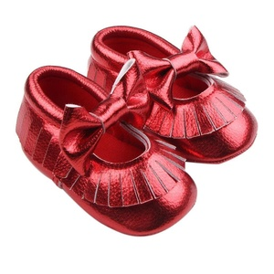 Iusun Baby Newborn Bowknot Prewalker Crib Shoes Soft Sole Toddler Shoes (Red, 6~12 Month)