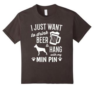 Kids Min Pin Shirt I Just Want To Drink Beer Funny Min Pin Dog 8 Asphalt