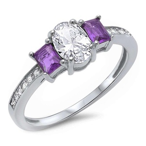 Accent 3 Stone Wedding Ring Baguette Simulated Purple Amethyst Oval Round CZ 925 Sterling Silver