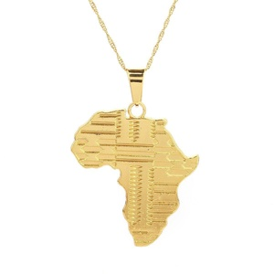 24K Gold Plated Big African Map Pendant Necklace Jewelry for Women