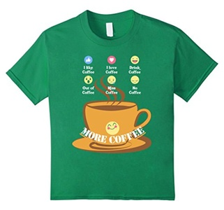 Kids Funny Coffee Lover Birthday Gift T Shirts Emoji Coffee Love 10 Kelly Green