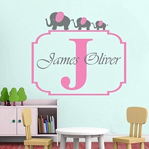 Cute Personalized Elephant Name Decal Custom Initial Baby Nursery Vinyl Decor Elephant Wall Sticker Children Room Kids Murals-you choose color 5553