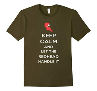 Men's Keep Calm And Let The Redhead Handle It Shirt 3XL Olive