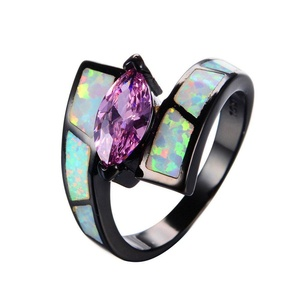 CHIC Bohemian Pink Zircon White Opal Ring Vintage Black Gold Filled Wedding Engaget Rings Fashion Jewelry 8.0