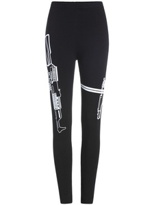 Black Slim Cotton Leggings with Gun Print