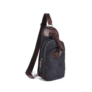 PiuPiu Outdoor Casual Canvas Unbalance Backpack Sling Bag Shoulder Bag Chest Bag (Black)