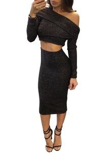 Women Sexy Off Shoulder Long Sleeve Clubwear Crop Tops Midi Skirt 2 Pieces Dress Black S