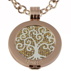 Quiges - Women Stainless Steel Necklace with 25mm Coin Locket and Coin Tree of Life/Flower of Life #1167