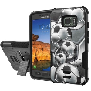 [AT&T] Galaxy [Active S7] Armor Case [NakedShield] [Black/Black] Urban Shockproof Defender [Kick Stand] - [Soccer] for Samsung Galaxy [S7 Active]