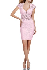 MILANO BRIDE Homecoming Dress Prom Gown Short V-neck Sheath Cap Sleeves Backless-20W-Pink
