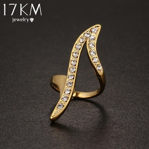 Slyq Jewelry New Vintage Punk Gold Plated Crystal Ring Personality Wedding Ring Jewelry Wedding Anel Bague