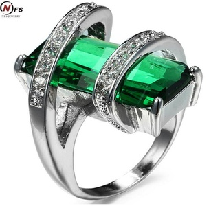 Dudee Jewelry Elegant white Gold Filled Emerald CZ Ring Vintage Wedding Ring amethyst Eve Fashion Jewelry