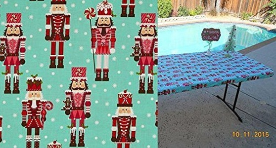 Custom Fit, Stay Put, Reusable Nutcracker Christmas Tablecloth or Table Cover for tables up to 6 ft. Table PERFECT for holiday parties