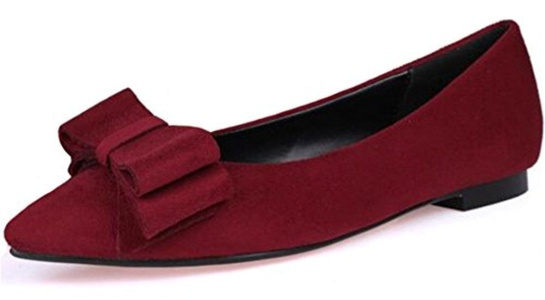 PPXID Women's Suede Pointed Toe Bowknot Slip On Casual Flat Pumps-Red 8.5 US size