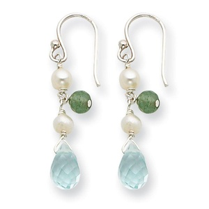 .925 Sterling Silver 36 MM Blue Crystal/white Cultured Pearl/Aventurine Earrings