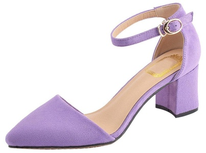 CAMSSOO Women's Pointy Toe Mid Chunky Heels D'orsay Dress Pump Shoes Purple Suede 6 US M