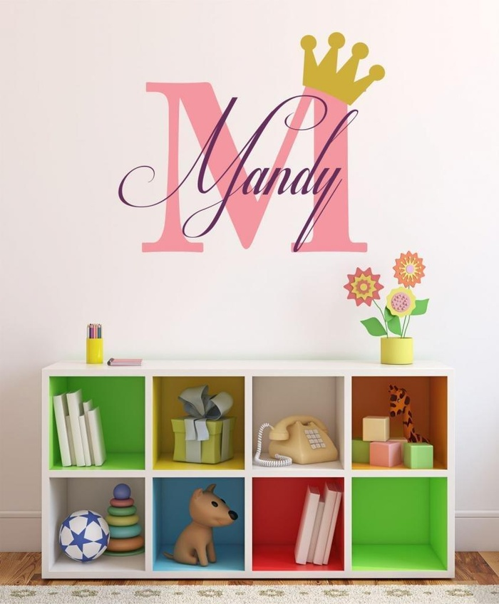 Name Wall Decals For Nursery Tags: Online Store: Baby Girl Initial Personalized Custom Name
