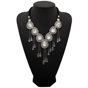ARICO Crystal Necklace Tassel Necklace Long Pendant Necklace Simple Maxi Necklace Collier Colar Collares NE782